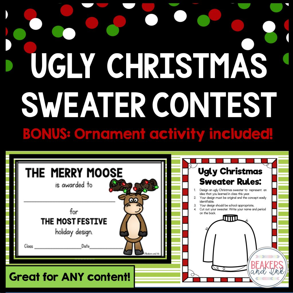 The ugly Christmas sweater contest is a great holiday activity in the classroom!