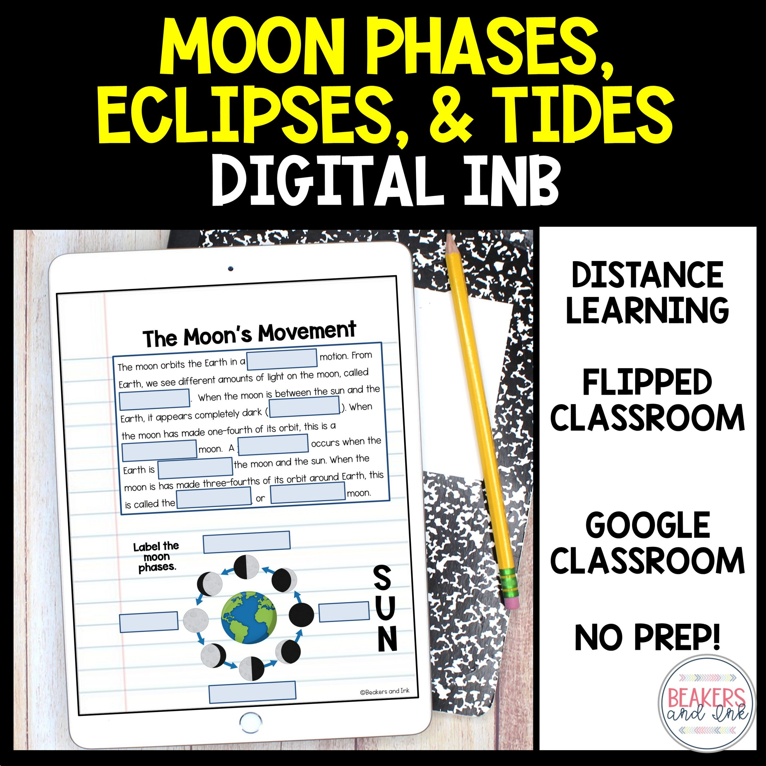 moon phases, eclipses and tides interactive notebook