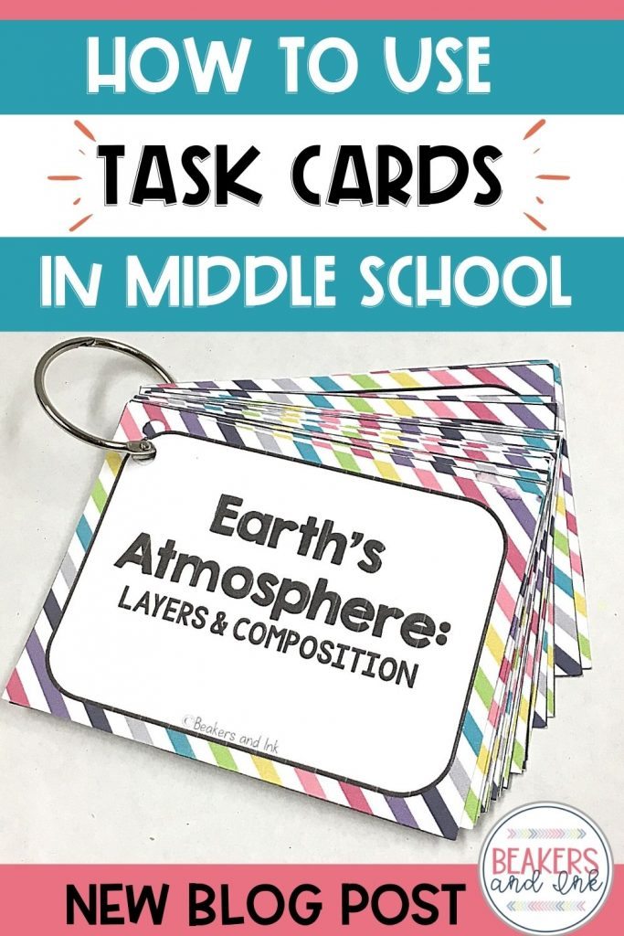task cards middle school classroom