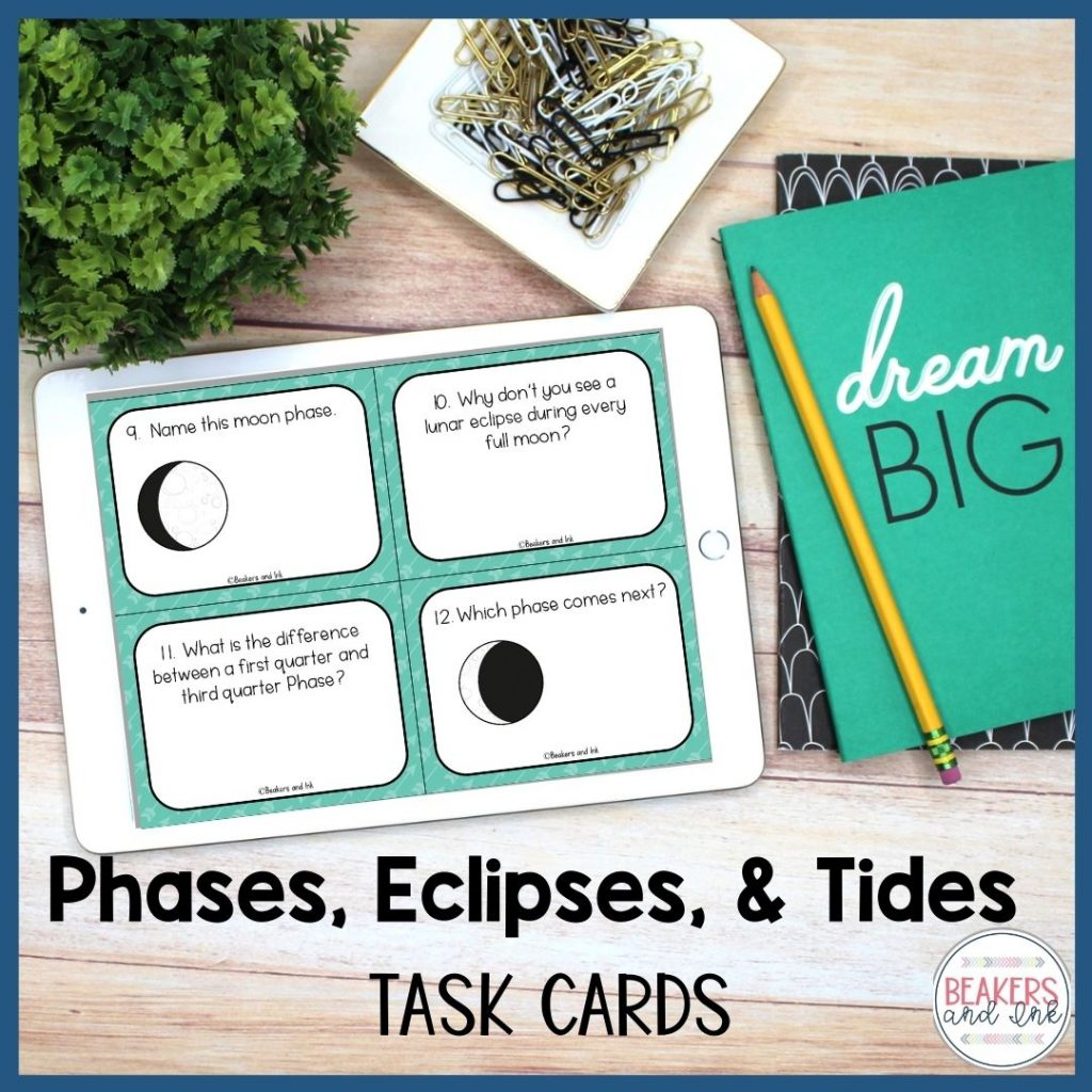 Moon Phases, Eclipses and Tides Task Cards